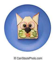 divertido, hecho,  bread, placa, queso, vegetales, gato