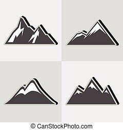 Mountain gray icons with black shadow