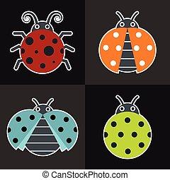 Ladybug icons on black background