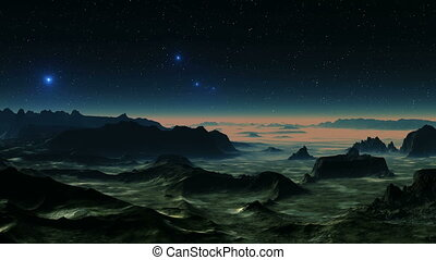 UFOs Fly Over Swampy Landscape - Bright blue glowing objects...
