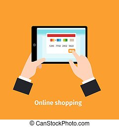 Credit card usage Online shopping - Credit plastic card...