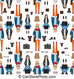 Girl hipster flat style seamless pattern. Vector...