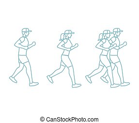 Run man and woman line icons