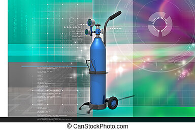 Oxygen Cylinder - Digital illustration of oxygen cylinder in...