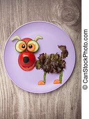divertido, perro, hecho, de, vegetales, en, placa, y, tabla
