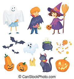 kids in halloween costumes vector illustration. witch,...