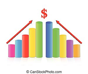 illustration of bar graph with rising arrow on isolated...