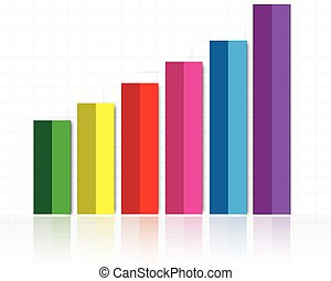illustration of colorful bar graph with rising