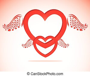 Valentine day heart with angel wings paper-craft greeting card