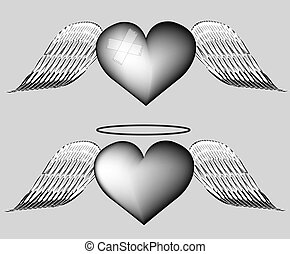black heart with wings.