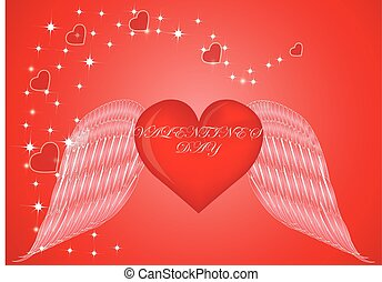 red Heart with Wings happy valentine day
