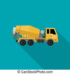 Concrete mixer truck in flat style. Vector icon of building...