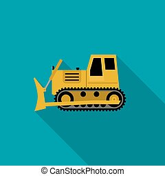 Dozer flat icon - Dozer simple illustration flat style...