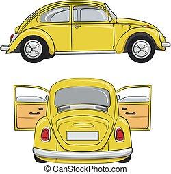 Yellow retro car. Vector