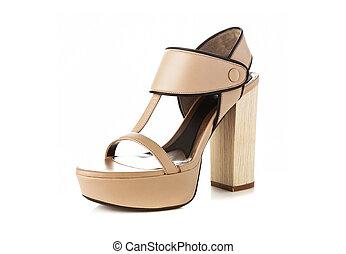 beige, couleur, élevé, talon, mode, chaussure