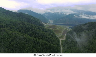 Flying over the hydroelectric power station on the Enisey...