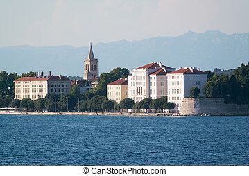 view from the sea to the old city Zadar. - view from the sea...