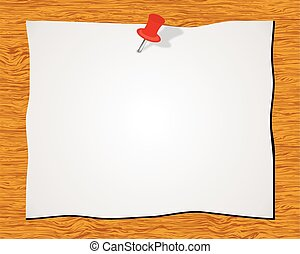 Blank white sticky note with red push pin isolated on wood...