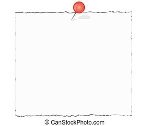 White note paper with red push pin isolated on white...