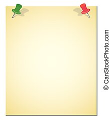 Yellow note and red push pin isolated on white background...