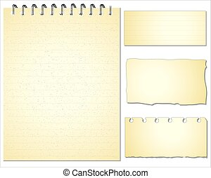 Set of Paper notes. Vector Illustration.