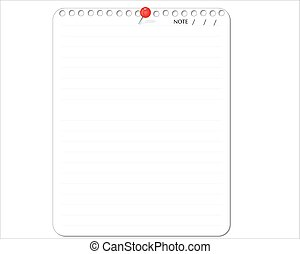 White paper note with pin red, vector illustration