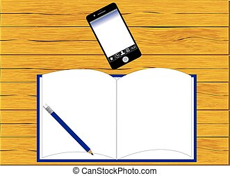 Blank notepad on a wooden surface.