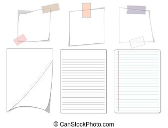 collection of various white note papers on white background....