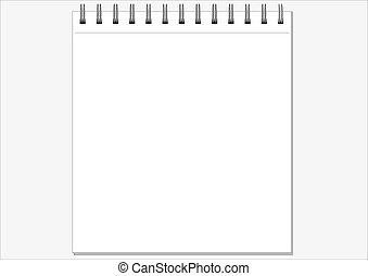 blank notepad over white illustration