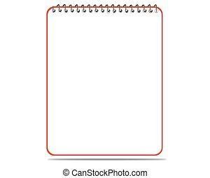 Lined spiral notepad on white