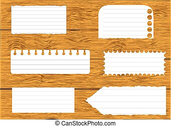 Collection of various white note papers, ready for your message on wood background