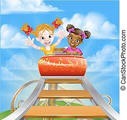 Roller Coaster Children - Cartoon girls riding on a roller...