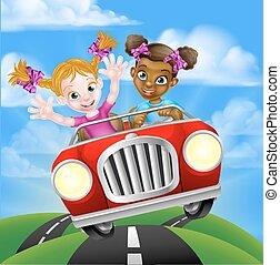 Cartoon Girl Children Driving Car