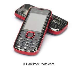 Two cellular phones over white background