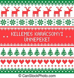 Merry Christmas in Hungarian - Winter red and green...