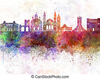 Algiers skyline in watercolor background