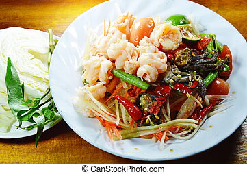 papaya salad called Som tum in Thai eat couple with fresh...