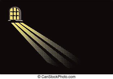 Light of moon in dungeon window. - Stock illustration. Light...