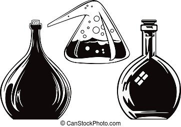 Alchemy bottle. - Stock illustration. Alchemy bottle.