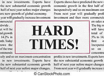 Hard times headline in newspaper
