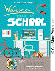 Vector school party invitation disco style. Meeting of...
