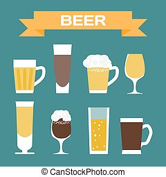 Set of beer glassware. Flat cartoon vector illustration. Wheat, lager, craft, ale, stout