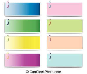 Set of blank post-it notes with clip, vector eps10 illustration