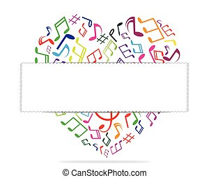 Music in the heart ready for your message. Vector illustration.