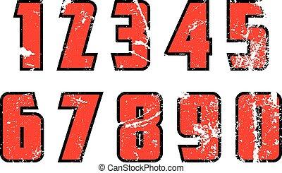 Grunge numbers. Vector illustration. - Set of grunge...