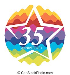 Template Logo 35 Anniversary Vector Illustration EPS10