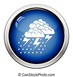 Thunderstorm icon. Glossy button design. Vector...