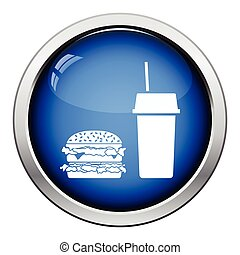 Fast food icon Glossy button design Vector illustration