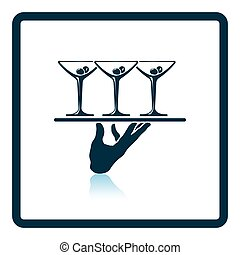 Waiter hand holding tray with martini glasses icon. Shadow...