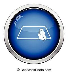 Wipe car window icon Glossy button design Vector...